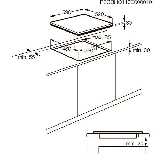 Встраив. газовая панель AEG HG5694340B
