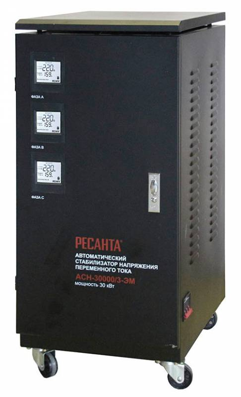 Стабилизатор напряжения Ресанта ACH-30000/3-ЭМ электромеханический трехфазный черный