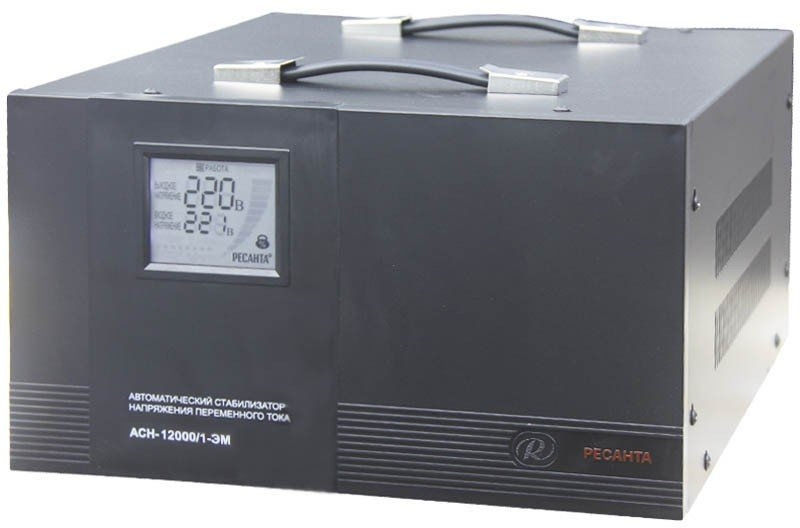 Стабилизатор напряжения Ресанта АСН-12000/1-ЭМ электронный однофазный серый